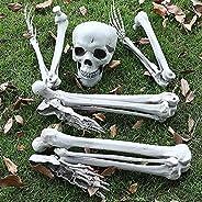 Halloween Skeleton Prop, Human Full Size Skull Hand Garden Model Decor, Life Size Realistic Human Bones, Can b