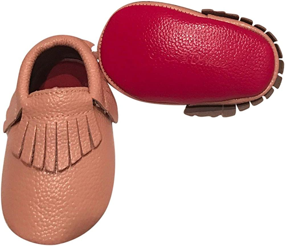 Baby Girls Blush Red Soft Sole Faux Leather Tassel Moccasin Crib Shoes 3-18M