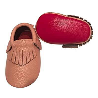affd6039e969 Baby Girls Blush Red Soft Sole Faux Leather Tassel Moccasin Crib Shoes 3-6M