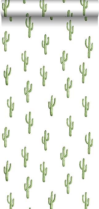 Hd Non Woven Wallpaper Small Estahome Desert Cactus Tropical Jungle Green 138899 Nl Amazon De Baumarkt