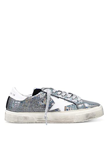246b4ae944d0c Golden Goose Deluxe Brand Women s May Sneakers Croco Print Metallic Leather  White Star G32WS127 H9 (