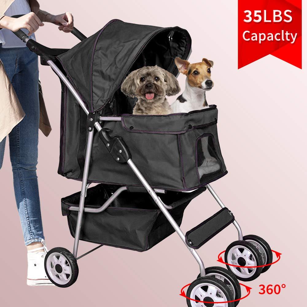 Bigacc Dog Stroller Pet Stroller Cat Stroller 4 Wheels Pet Jogger Stroller 35lbs Capacity Travel Lite Foldable Carrier Strolling Cart W/Cup Holders Removable Liner for Medium and Small Dog,Black