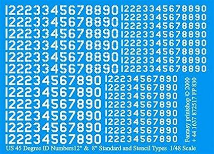 """45 DEGREE ID NUMBERS 8/"""" /& 12/"""" RED Fantasy Printshop Decals 1//48 U.S"""