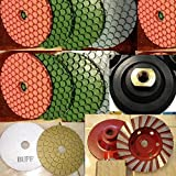 floor buffer machine pacific - 4 Inch Diamond ULTRA Thick (5.5mm Thick) Polishing Pad 16 Pieces FREE Pad Holder 2 glaze buffing pad 2 Pieces 4 Inch Turbo Cup Wheel Granite marble Stone Concrete Travertine floor renew fits toolsmart metabo hardin secco damo