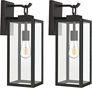 Hykolity Outdoor Wall Lantern with ST19 LED Bulb,2700K,60W Equivalent, Matte Black Wall Light Fixtures, Architectural Wall Sconce with Clear Glass Shade for Entryway, Porch, Doorway, ETL Listed,2 Pack