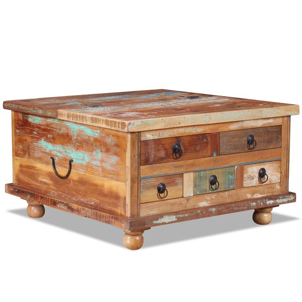 vidaXL Couchtisch Altholz 70x70x38cm Kaffeetisch Beistelltisch Sofatisch Tisch