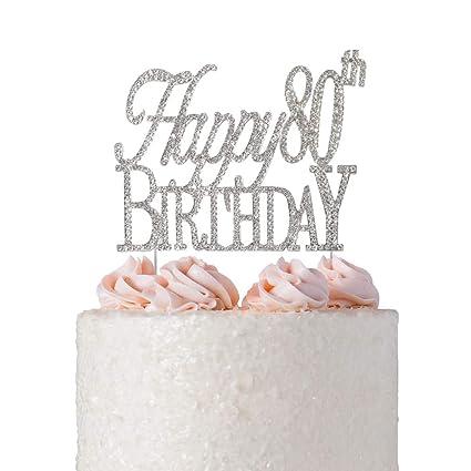 Amazon Happy 80th Birthday Rhinestone Cake Topper