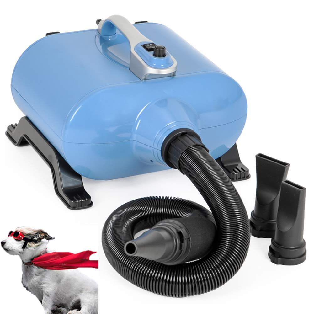 bluee TSTLCLLMZ Professional Dog Grooming Double Motor Hair Dryer 3000W Low Noise Stepless Speed,with Flexible Hose and 3 Nozzles,bluee