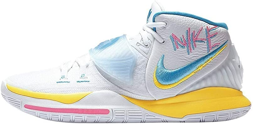 Inmundicia Tecnología Remisión  Amazon.com | Nike Men's Kyrie 6 90s Basketball Shoes BQ4630-101 White/Blue  Fury-Opti Yellow | Basketball