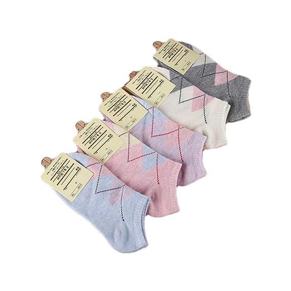 calcetines de la mujer de la mezcla de 5 pares cortos lindos calcetines de algodón de la boca poco profunda calcetines de verano delgada antideslizante ...