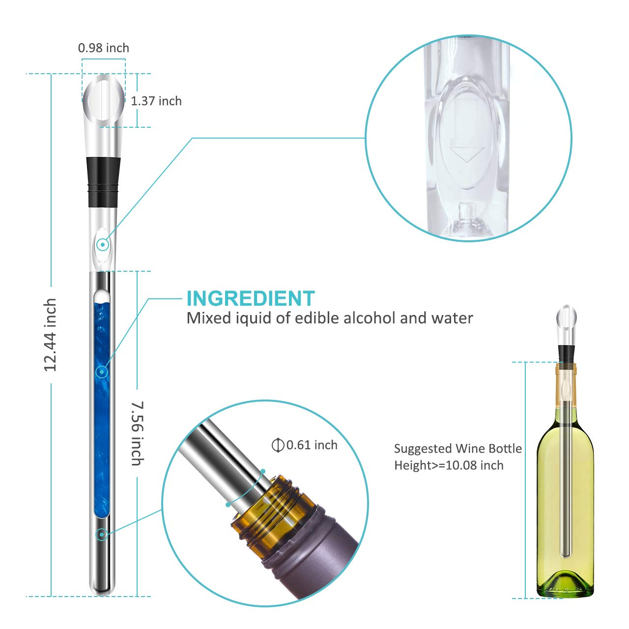 Wine Chiller, 3-in-1 Stainless Steel Wine Bottle Cooler Stick - Rapid Iceless Wine Chilling Rod with Aerator and Pourer - Perfect Wine Accessories Gift by Newward (Image #4)