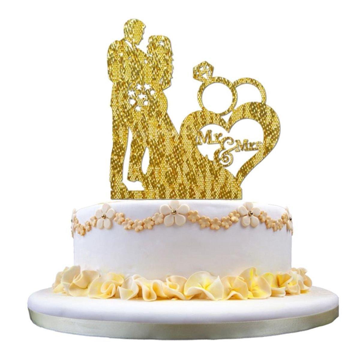Amazon.com: TOOGOO New Fashion 3D Sticker Sweet Wedding Cake Topper ...