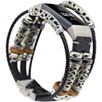 Cooljun Compatible avec Fitbit Charge 3,Bracelet en Cuir de Remplacement