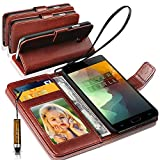 N+ INDIA Asus Zenfone 3 ZE520KL-1A035IN Rich Leather Stand Wallet Flip Case Cover Book Pouch / Quality Slip Pouch / Soft Phone Bag (Specially Manufactured - Premium Quality) Antique Leather Case With Mini Touch Stylus Pen Brown For Asus Zenfone 3 ZE520KL-1A035IN
