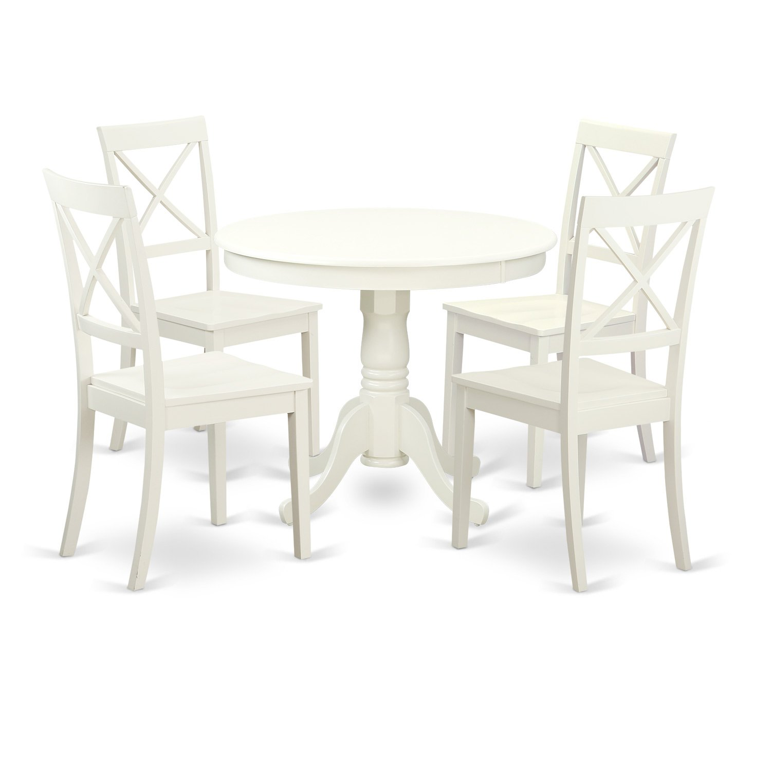 East West Furniture ANBO5-LWH-W 5 PC Set with One Table & Four Wood Seat Dinette Chairs Having A Beautiful Linen White