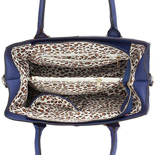 TrendStar Bolso Para Mujer Del Diseñador Bolsos De Las Señoras De Cuero De Imitación 3 Compartimento Totalizador Del Estilo Nueva Celebridad Amplio C - Blue/Orange
