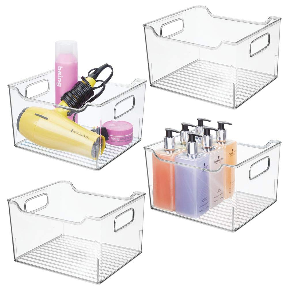 mDesign Deep Plastic Bathroom Vanity Storage Bin with Handles - Organizer for Hand Soap, Body Wash, Shampoo, Lotion, Conditioner, Hand Towel, Hair Brush, Mouthwash - 10'' Long, 4 Pack - Clear