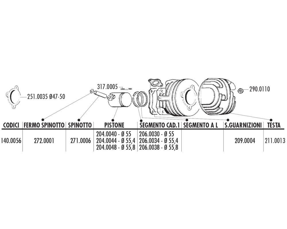 kolbenkit POLINI 102 CCM per APE 50, Vespa PK 50, Special 50, XL 50