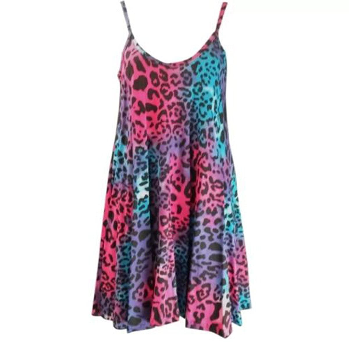 FashionMark Women's Leopard Print Camisole Flared Dress