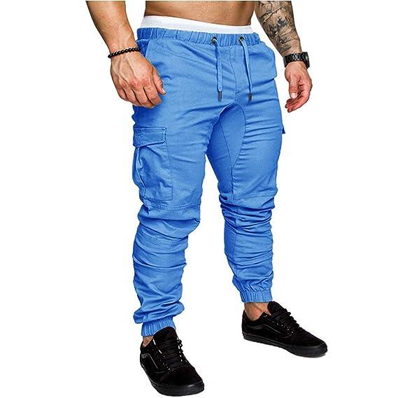 Puluo - Pantalones de chándal para Hombre, Ligeros, con Bolsillos ...