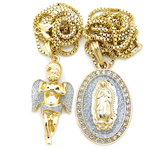 (Gold Silver Tone Baby Angel, Virgin Mary Pendant 24