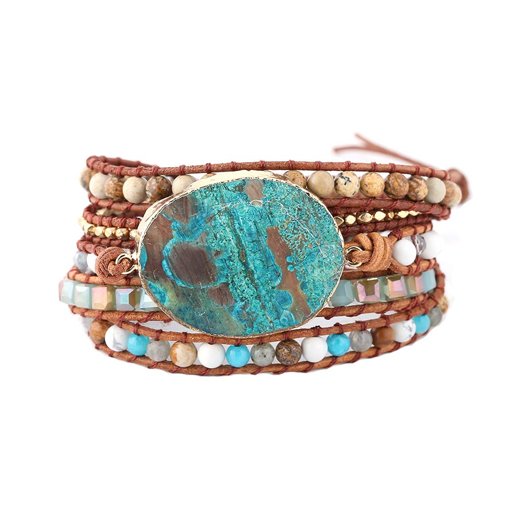 IUNIQUEEN Handmade Mixed Natural Ocean Jasper Stone Druzy 5 Strands Wraps Boho Statement Women Bracelet Collection