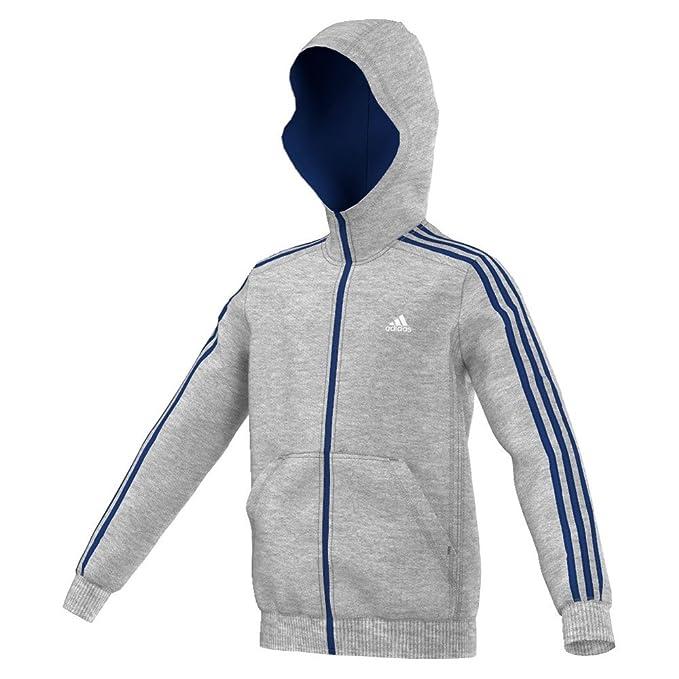 adidas Boys' Essentials 3 Streifen Kapuzenjacke Sweatshirt