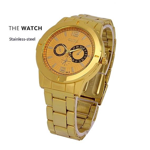 Los hombres de oro de banda de acero inoxidable resistente al agua reloj de  pulsera para 29e5945e1774