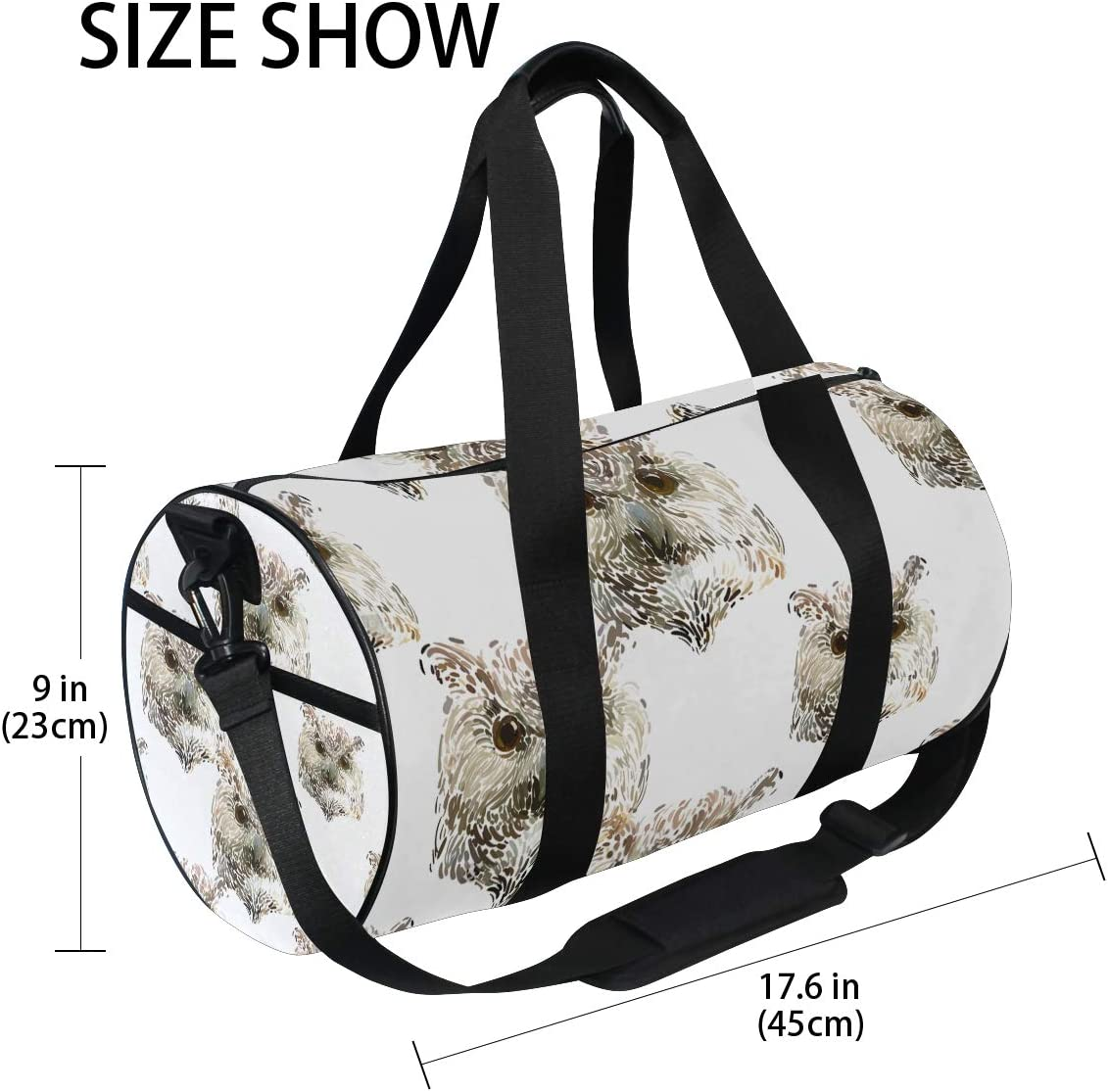 Duffel Bags Amazing Animal Owl Portrait Womens Gym Yoga Bag Small Fun Sports Bag for Men