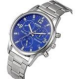 Amlaiworld uomo acciaio inossidabile analogico orologio da polso al quarzo (blu)