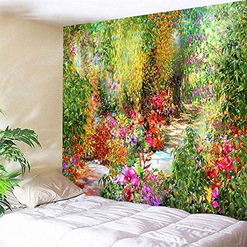 Flower Tapestry Colorful Floral Plants Tapestry Spring Theme Mystic Secret Garden Wild Flower Tapestry Wall Hanging Dorm Decor Wall Tapestries For Living Room Bedroom Picnic Wall Decor 80×60 inches