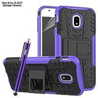 Samsung Galaxy J3 2017 Case, Heavy Duty Tough Armour Rugged Shockproof Case for Samsung Galaxy J3 2017 + Screen Protector & Microfibre Polishing Cloth + Stylus (Purple)