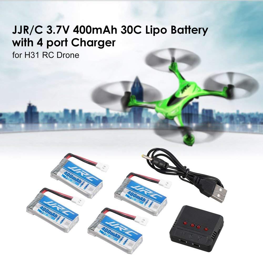 Heraihe Original 4Pcs JJR / C 3.7V 400mAh 30C Lipo batería con 4 ...
