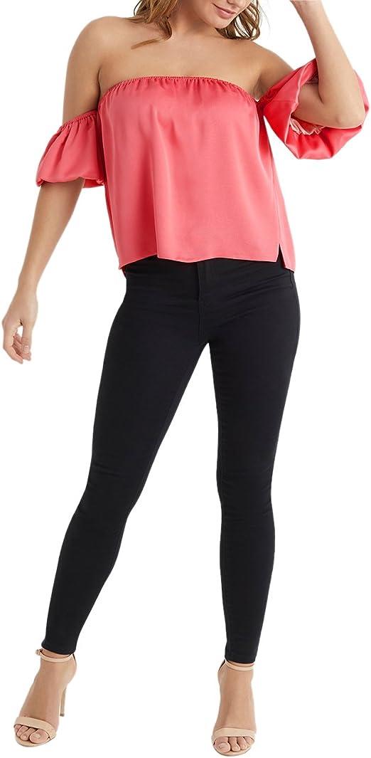 Lipsy Mujers Camiseta De Satén Veraniega Casual Escote Bardot ...