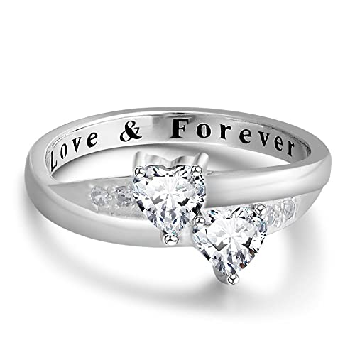 0c1c5473a46f9 Diamondido Personalized Love Forever Engagement Heart Rings Couples ...