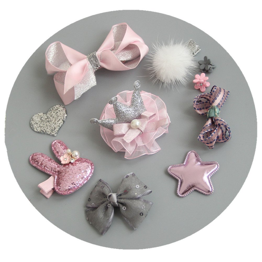 Fashion Boutique 10pcs Baby Hair Clips for Fine Hair No Slip 0-6 Edges Hair Barrettes Bow Hair Accessories for Baby Infant Toddlers Girl Birthday Christmas Gift (Grey+Pink) by Coberllus (Image #1)