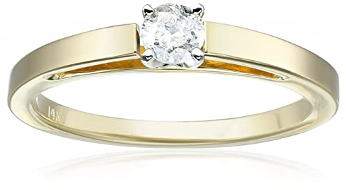 14k Gold Round Cathedral Solitaire Diamond Ring (1/4 carat, H-I Color, I2-I3 Clarity), Size 7