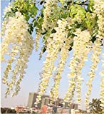Coolbila 110cm Artificial Wisteria Plants Wedding Flower Ceiling Decoration Foliage Garland, Set of 12 (Cream)
