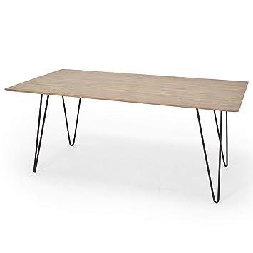 Esstisch Massiv Braun Weiß 180 X 90 X 76 Cm Esszimmer Tisch Im Vintage Look  Metall