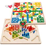 YCbingo Ludo Board Game & Chinese Checkers 2 in 1 Natural Wooden Board Flying Chess Family Game for Adults and Kids