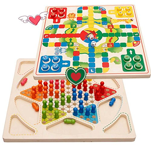 (YCbingo Ludo Board Game & Chinese Checkers 2 in 1 Natural Wooden Board Flying Chess Family Game for Adults and Kids)