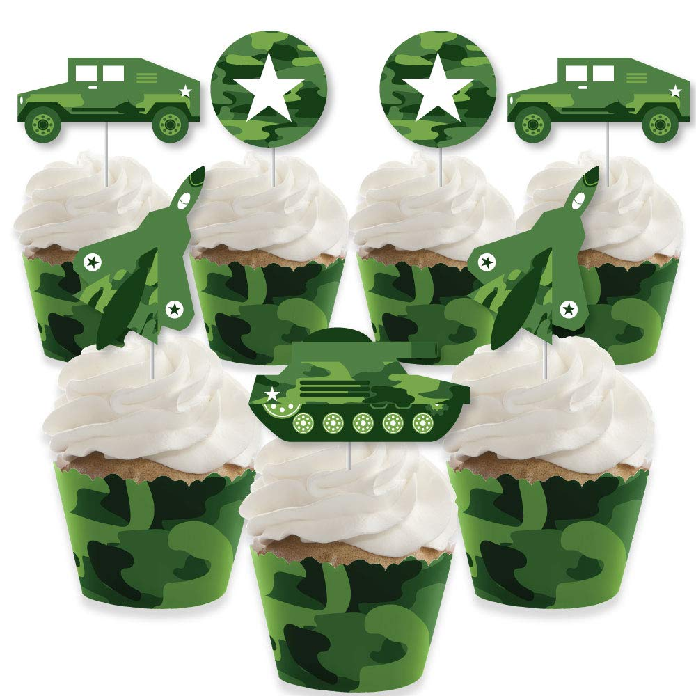 Camo Hero - Cupcake Decoration - Army Military Camouflage Party Cupcake Wrappers and Treat Picks Kit - Set of 24 by Big Dot of Happiness