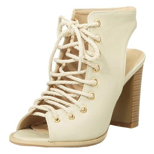 RizaBina Mujer Moda Botines Sandalias Tacon Ancho Tacon Alto con Cordones Gladiador Zapatos (40 EU