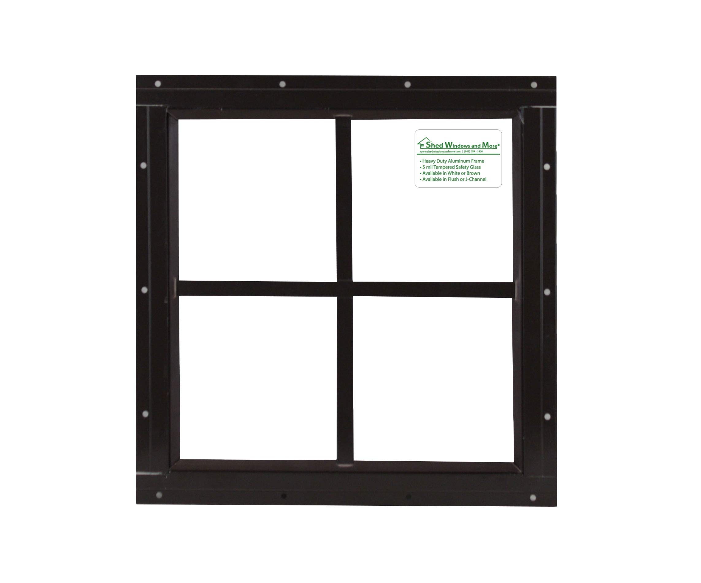 Square Shed Window 16'' X 16'' Brown Flushl, Playhouse Window