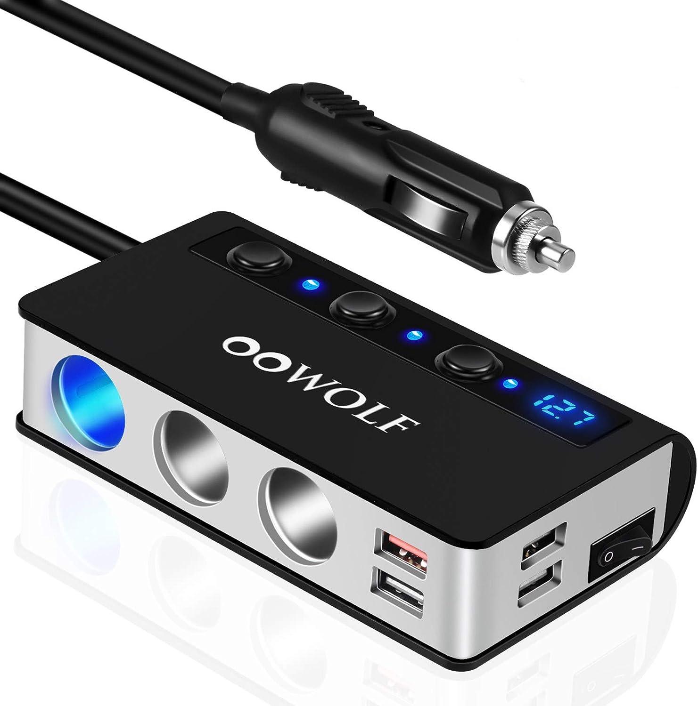 OOWOLF QC 3.0 Carga Rápida Adaptador De Encendedor De Cigarrillos, 3 Puertos Adaptador Cargador De Coche LED De Voltaje Digital para GPS, Dash CAM, Sat Nav, iPhone,Teléfono, iPad, Tableta, y etc
