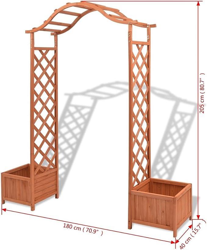 mewmewcat Pérgola para Jardin con 2 Jardineras,Arco de Jardin para Plantas Arco para Rosas,Decoración para Jardín Balcón Patio,Madera ...