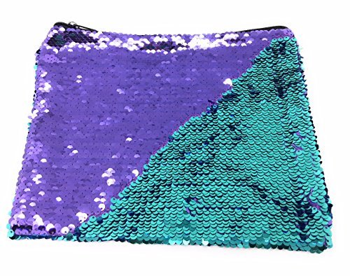 (Purple and Teal Mermaid Sequins Pouch - Large)