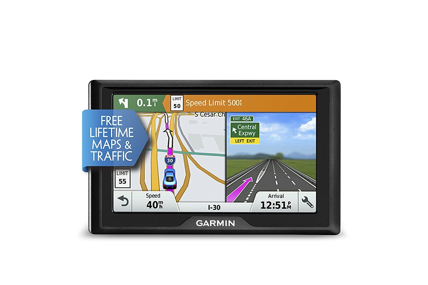 Garmin Drive 50 USA + CAN LMT GPS Navigator System with Lifetime Maps and Traffic, Driver Alerts, Direct Access, and Foursquare data (Renewed) by Garmin