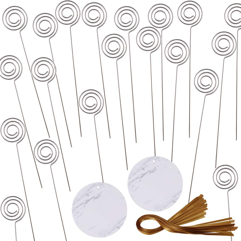 Exquiss 20 Sets Circular Marble Place Card Food Signs Table Number Cards Photo Holders Menu Clips Memo Cards Holder Picks in Silver with Golden Brown Satin Ribbons for Wedding Baby Shower Dinner Party