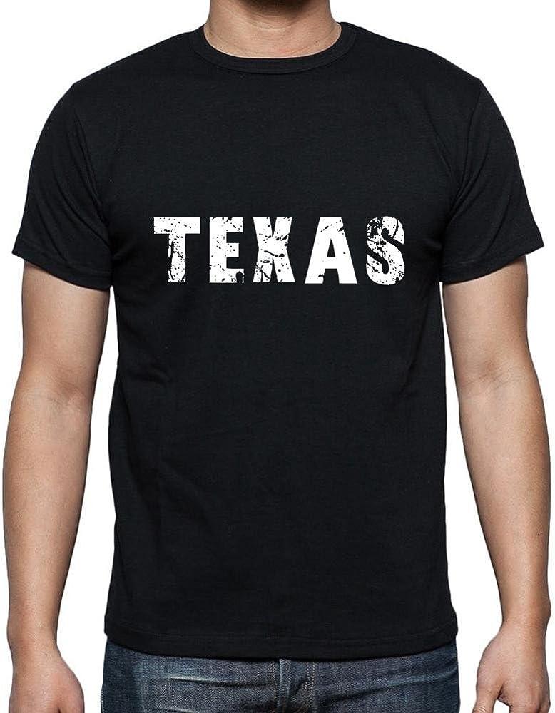 texas Camiseta para hombre, cuello redondo, negro: Amazon.es: Ropa y accesorios